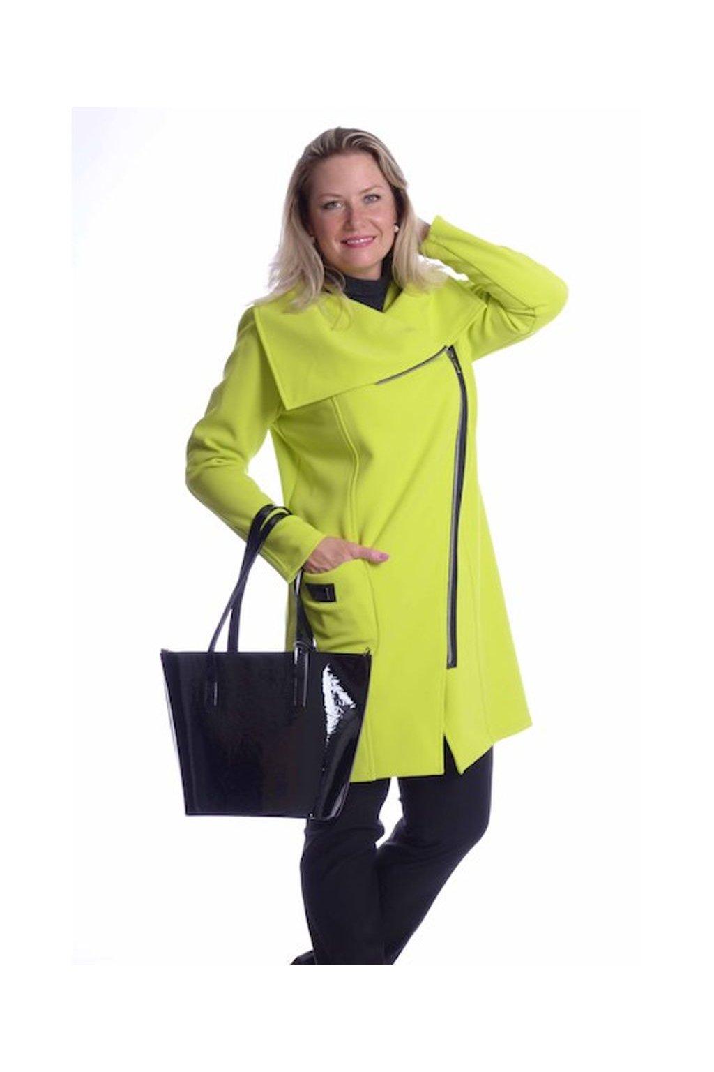 6719 Kabát velký límec (Velikost 36, Barva Zelená)