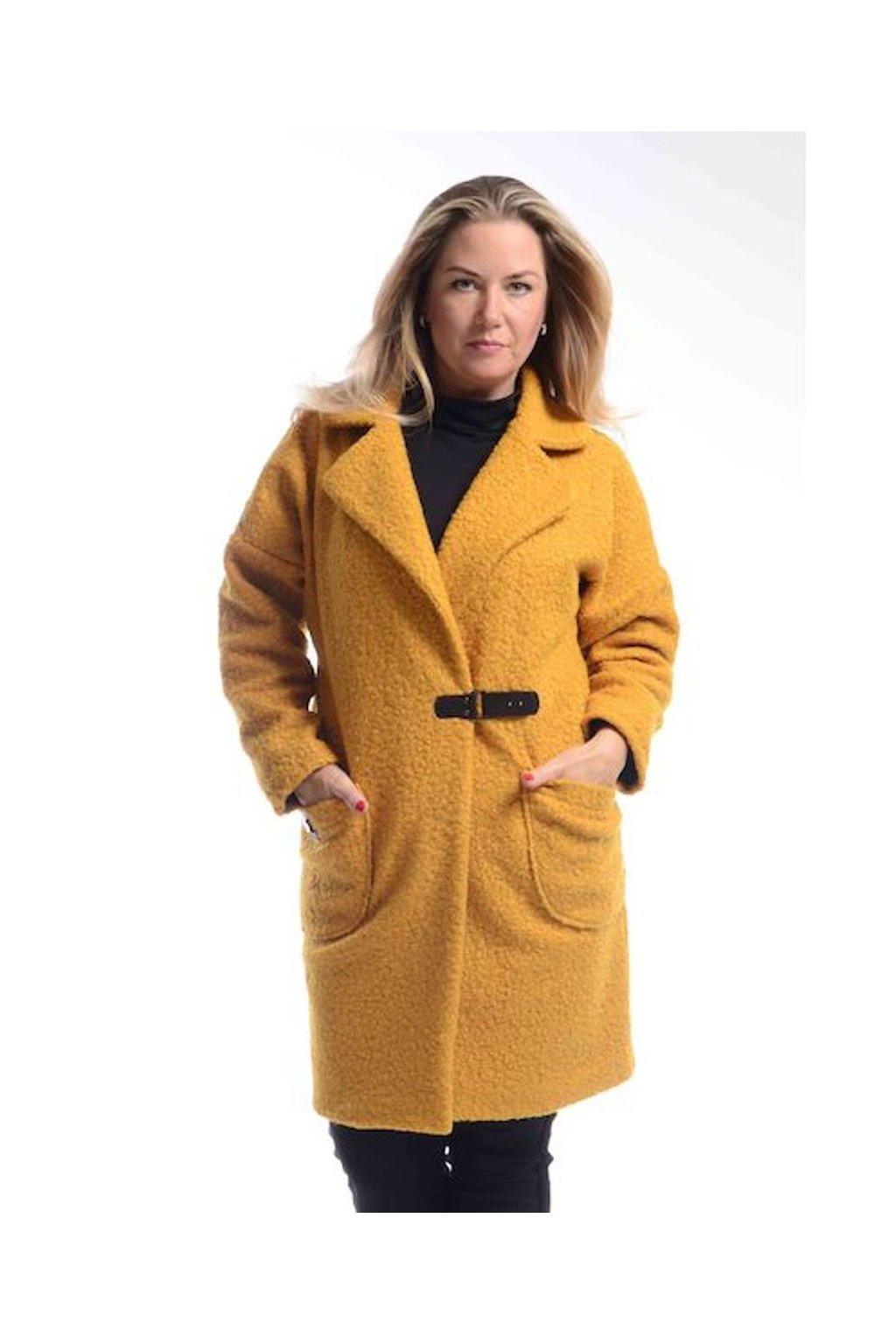 7320 Kabát Carla (Velikost L, Barva Hořčicová)