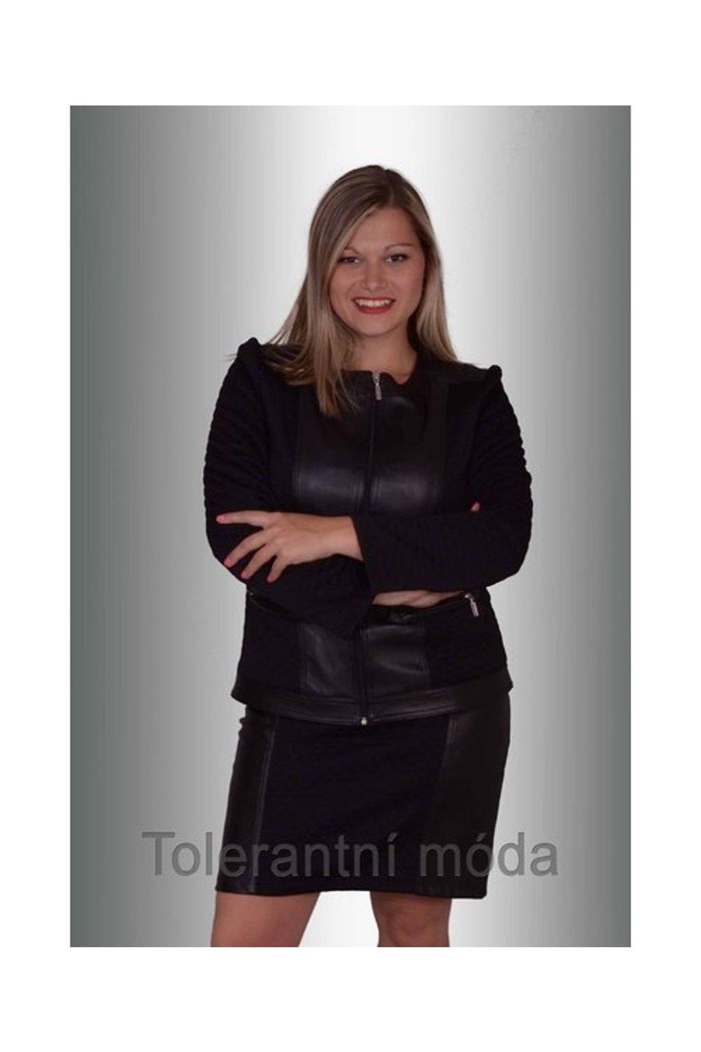 9114 Sukně káro - koženka 53 cm (Velikost 38, Barva Černá)