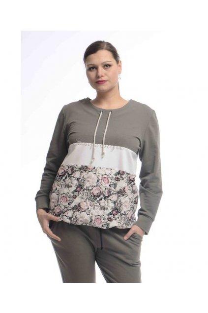 0721 Mikina Style (Velikost 36, Barva Khaki)