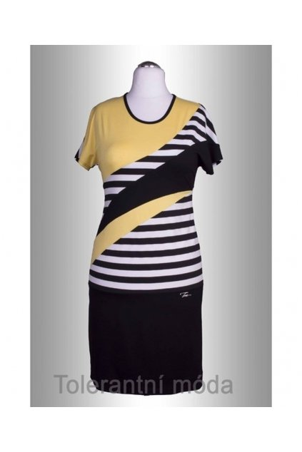 P3714 Šaty vsazovaný proužek (Velikost 38, Barva Žlutá)