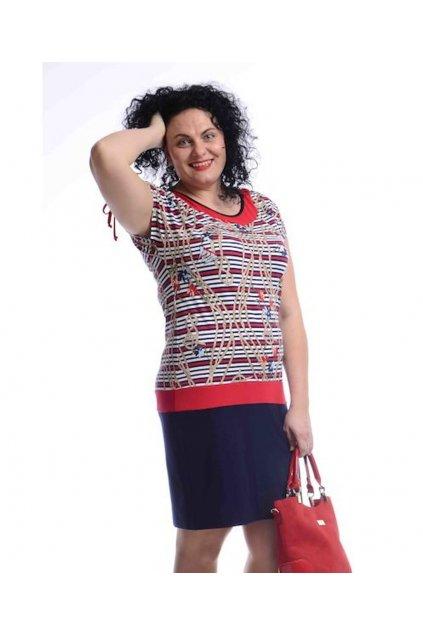 5220 Šaty řasená ramena (Velikost 36, Barva Vzorovaná)