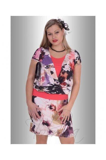 Šaty překřížené vsadka 5316 (Velikost 36, Barva Vzorovaná)
