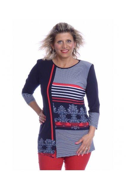 10019 Tunika asymetrická paspule (Velikost 36, Barva Vzorovaná)