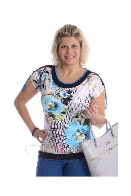 3719 Kimono řasená ramena (Velikost 36, Barva Modrá)