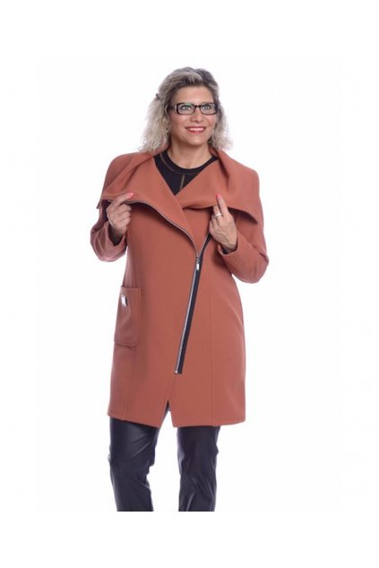6719 Kabát velký límec (Velikost 36, Barva Cihlová)
