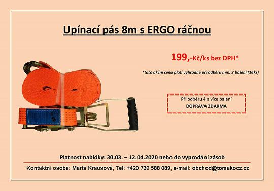 upínací pás 8m s ERGO ráčnou