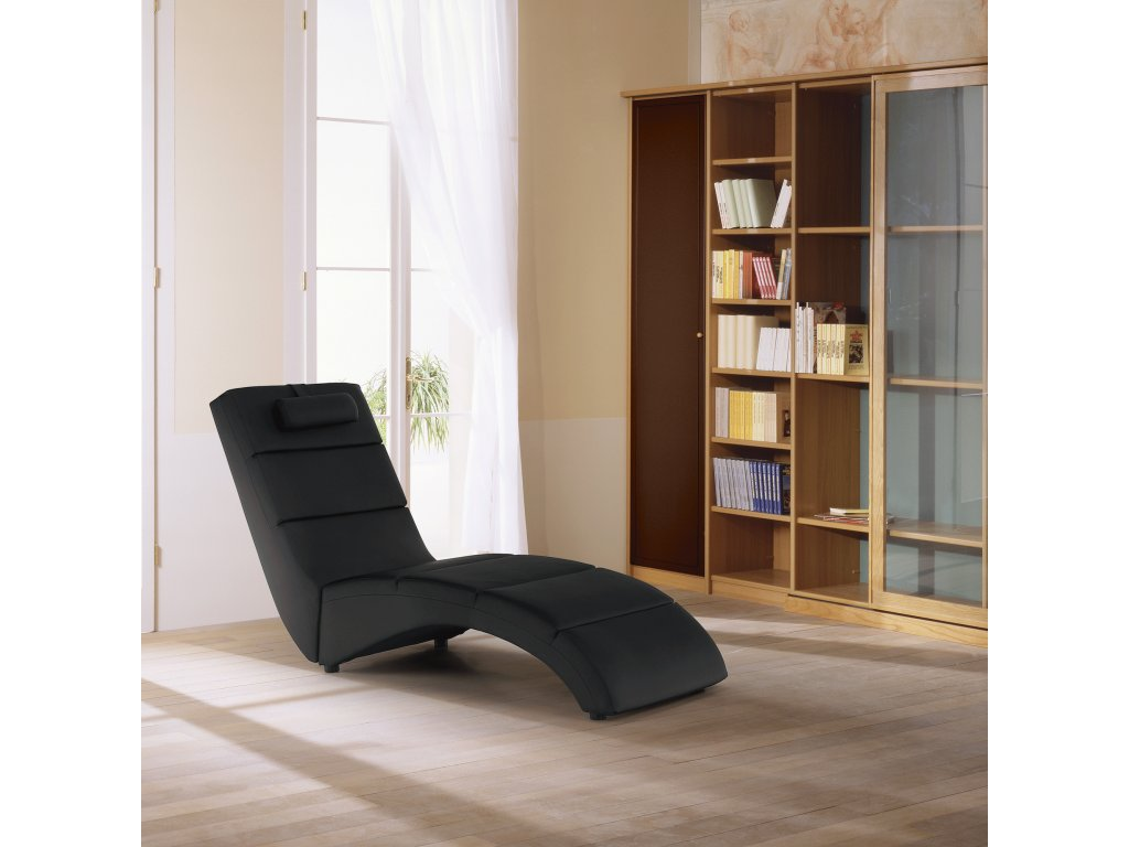 Relaxačné kreslo, čierna ekokoža, LONG, 0000086079, 84