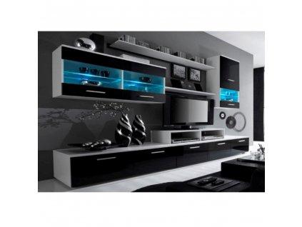 Obývacia stena, biela/čierna extra vysoký lesk HG, LEO