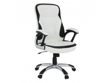 Kancelárske kreslo, ekokoža biela/čierna, AFRA