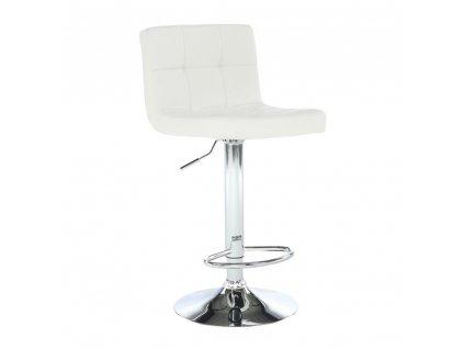 Barová stolička, biela ekokoža/chróm, KANDY NEW