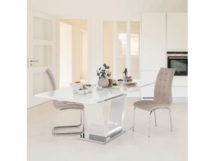 Jedálenský stôl, rozkladací, biela extra vysoký lesk/oceľ, PERAK, 0000183936, 84