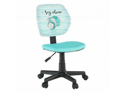 Otočná stolička, látka vzor/mentolová, BLUES, 0000234335, 84