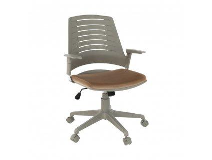 Kancelárska stolička, sivá/hnedá, DARIUS, 0000234434, 84