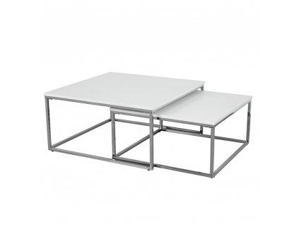 Konferenčné stolíky, set 2 ks, chróm/biela ENISOL TYP 1