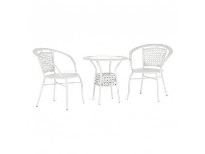 Záhradný ratanový set 1+2, biela, JENAR
