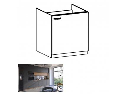 Drezová skrinka, dub artisan/sivý mat, pravá, LANGEN D60Z, 0000263749, 84