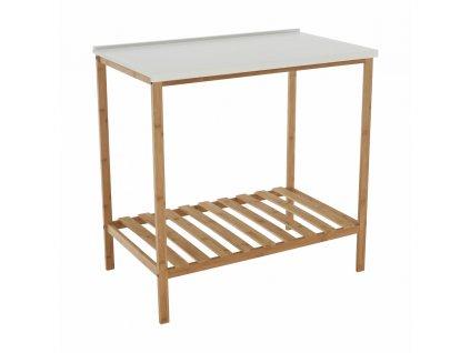 Stôl s policou, prírodná/biela, SELENE TYP 5