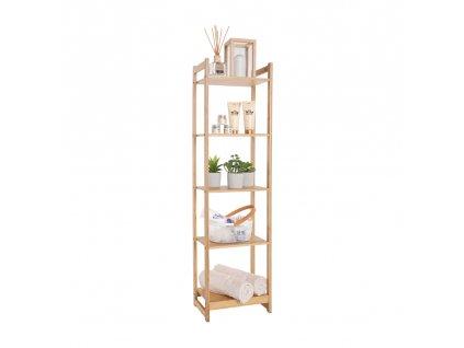 5-poličkový regál, prírodný bambus, IMPEROR TYP 3