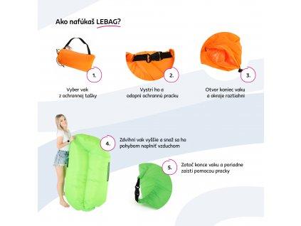 Nafukovací sedací vak/lazy bag, oranžová, LEBAG, 0000279237, 84