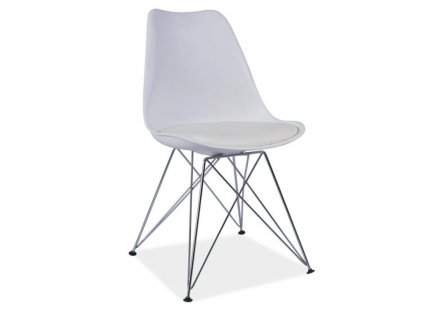 Stolička, biela/chróm, METAL 2 NEW