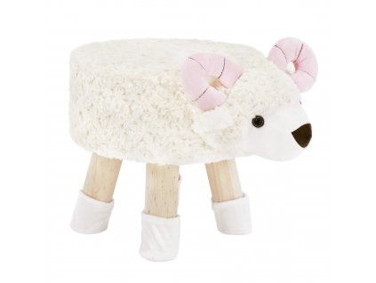 Taburet v tvare ovečky, látka Velvet biela/ružová/prírodná, LOLA