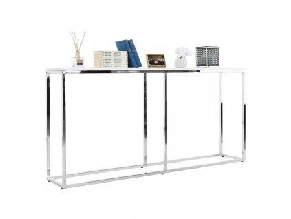 Konzolový stolík v industriálnom štýle, biela/chróm, KORNIS
