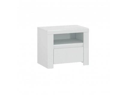Nočný stolík 1S, biely lesk, LINDY