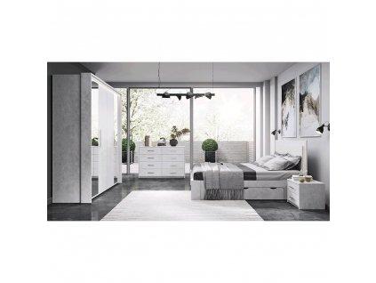 Spálňová zostava (posteľ+2x nočný stolík+skriňa), sivý betón, ALDEN