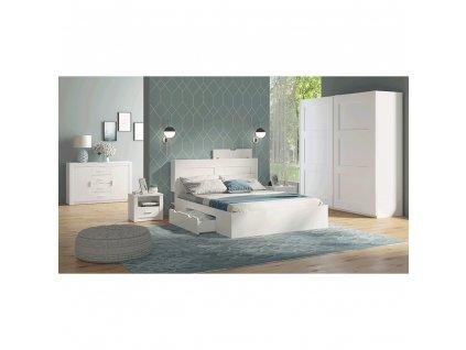 Spálňová zostava (skriňa/posteľ/2ks nočný stolík), biela, RAMIAK