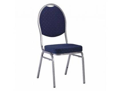 Stolička, stohovateľná, látka modrá/sivý rám, JEFF 3 NEW 2