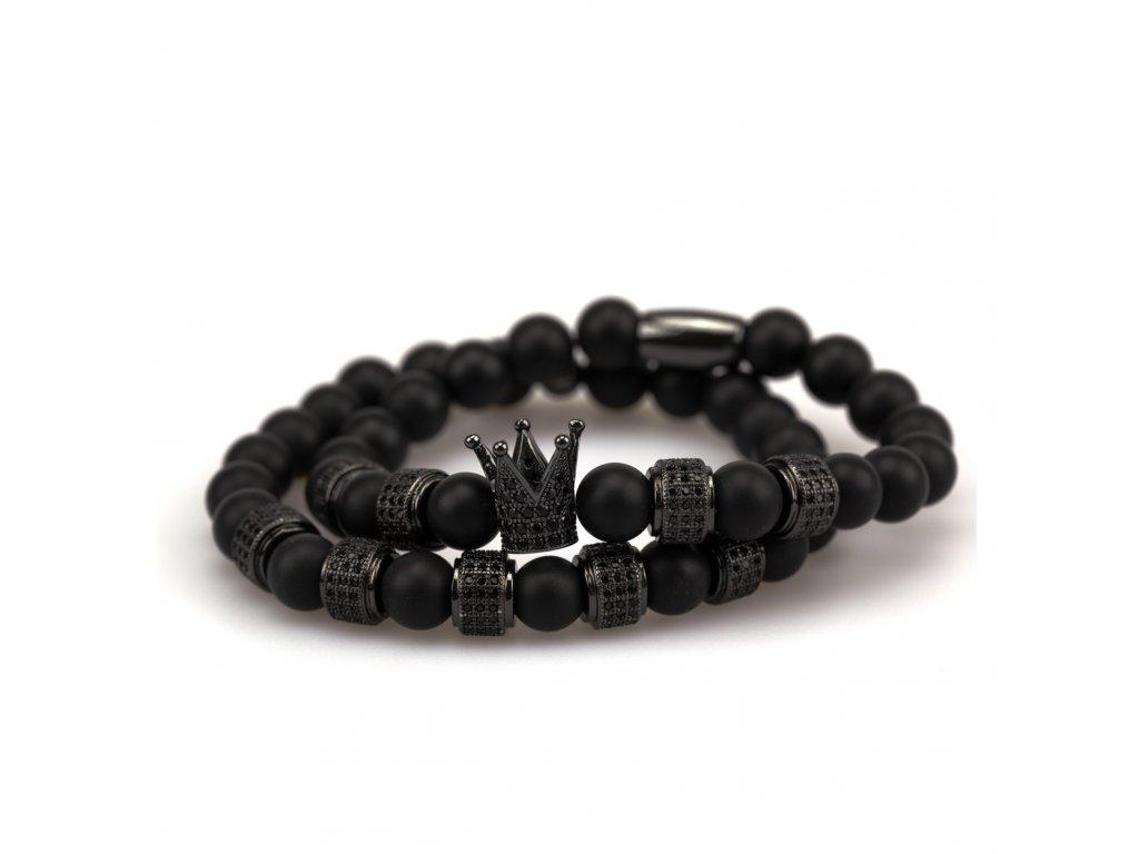 Set matný achát náramek - černá korunka s černými zirkony, černé stopery