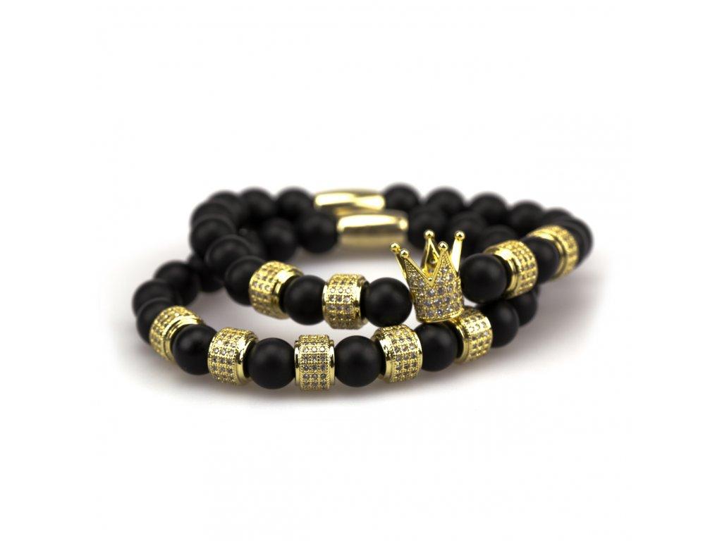 Set matný achát náramek - zlatá korunka s černými zirkony, zlaté stopery