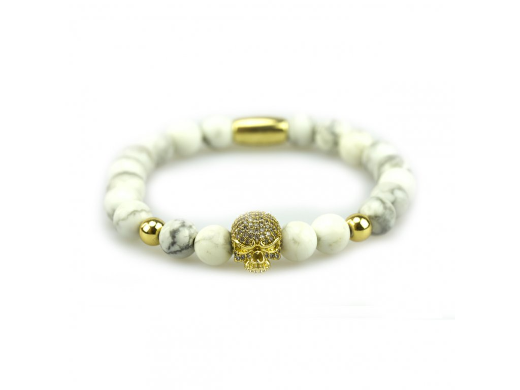 Howlit náramek - zlatá lebka osázená zirkony, zlaté korálky