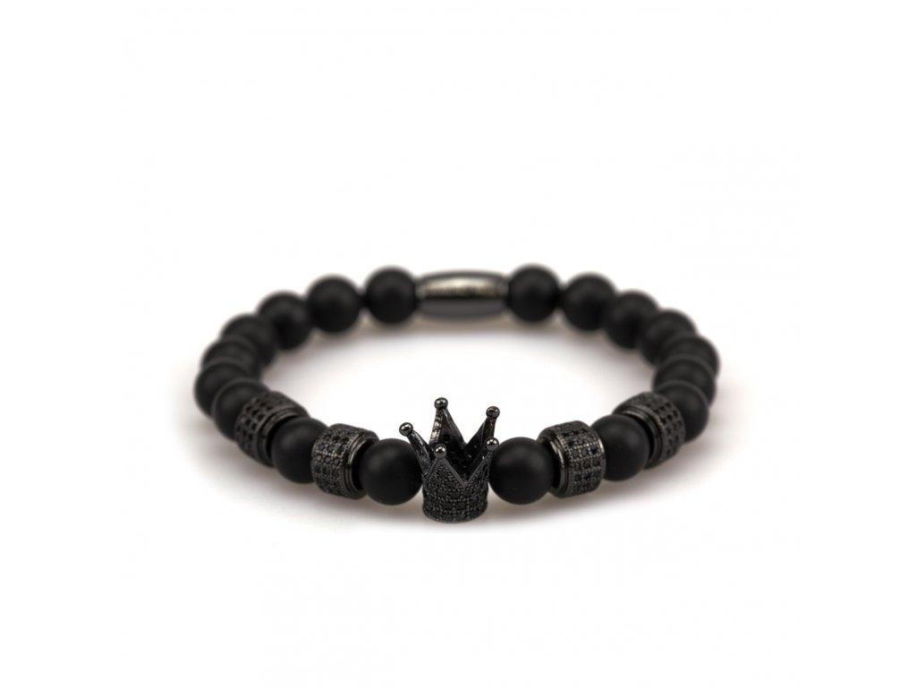 matný achát náramek - černá korunka s černými zirkony, černé stopery