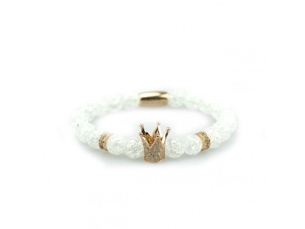 Zlatá korunka se stříbrnými zirkony a korálku z práskaného křišťálu