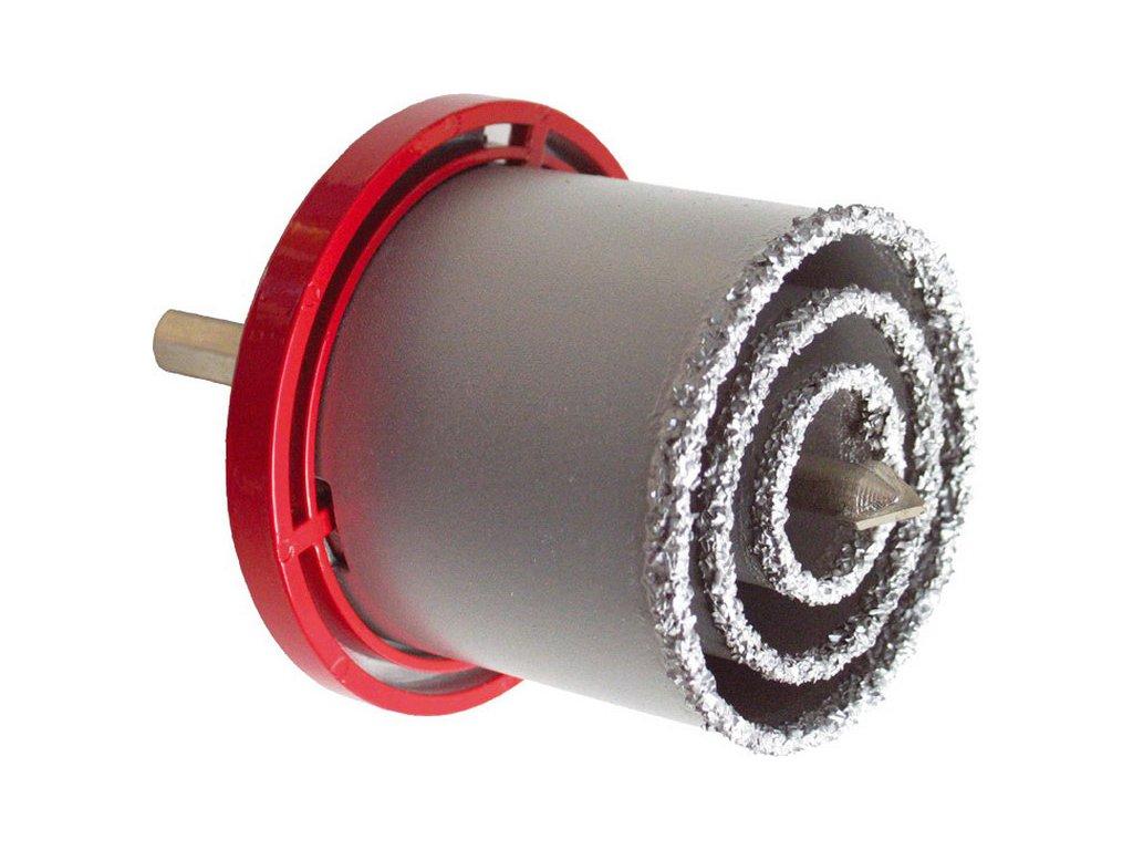 vrtáky vykružovací s karbidovým ostřím, sada 3ks, ∅33-53-73mm, vodící vrták ∅10x140mm, max. hloubka vrtu 55mm, max. otáčky 1500/min, uchycení 9mm šestihran, pro vrtání otvorů do zdiva, dlaždic, škvárobetonových tvár