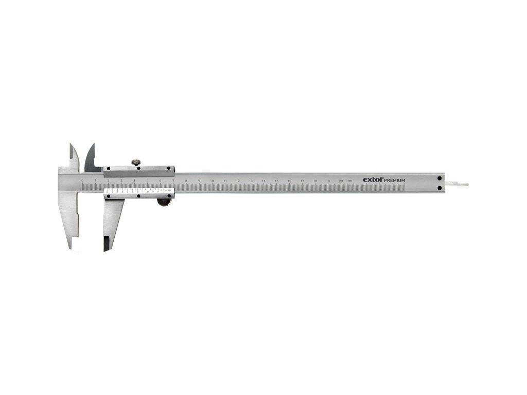 měřítko posuvné kovové, 0-200mm, rozlišení ± 0,05mm, dva typy čelistí pro různé typy měření, hloubkoměr, baleno v plastové kazetě, EXTOL PREMIUM