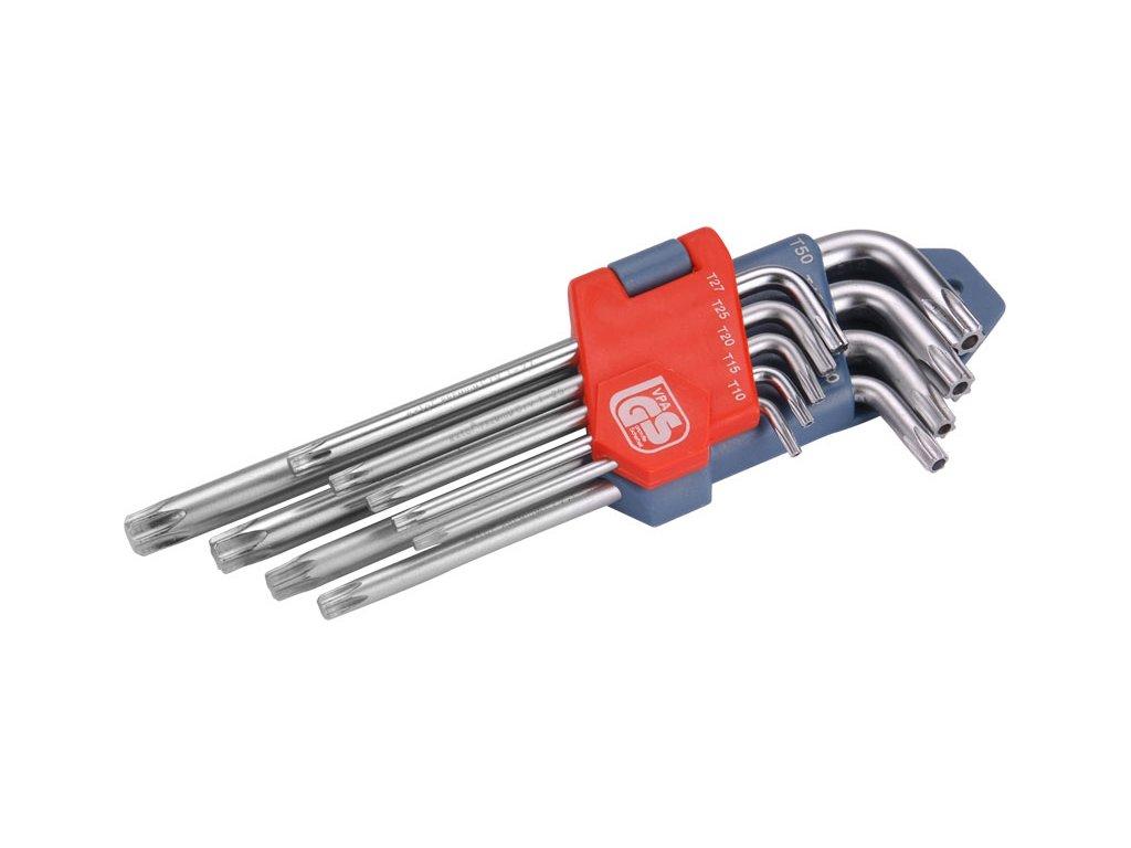 L-klíče TORX, sada 9ks, T 10-15-20-25-27-30-40-45-50, vrtané na kratší straně, CrV, EXTOL PREMIUM