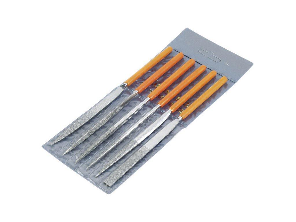 pilníky diamantové jehlové, sada 6ks, 160mm, pilník plochý, půlkulatý, tříhranný, kulatý, čtyřhranný, nožový, materiál-uhlíková ocel tvrzená na HRC 38-42, rukojeť máčená v PVC, EXTOL PREMIUM