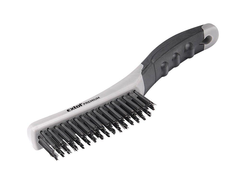 kartáč ocelový, TPR rukojeť, 250mm, 4řadý, délka drátu 28mm, průměr 0,35mm, Fe, EXTOL PREMIUM