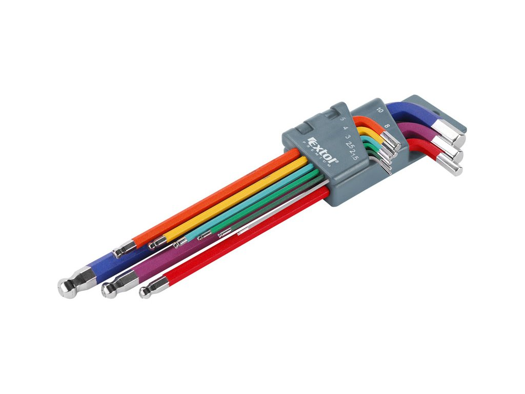 L-klíče imbus prodloužené barevné, sada 9ks, 1,5-2-2,5-3-4-5-6-8-10mm, s kuličkou, barevné rozlišení velikostí, CrV, EXTOL PREMIUM