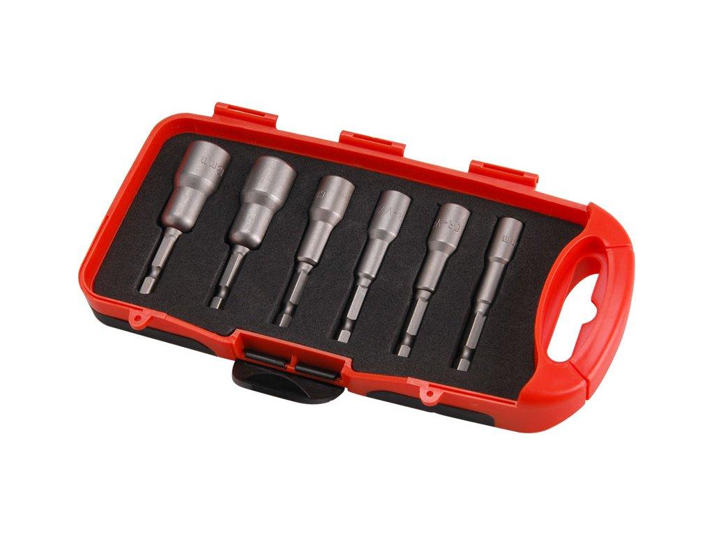 """klíče nástrčné do vrtačky, sada 6ks, 6-7-8-10-12-13mm, délka 65mm, uchycení do vrtačky nebo nástavce pomocí 1/4"""" šestihranu, silný magnet, CrV, EXTOL PREMIUM"""