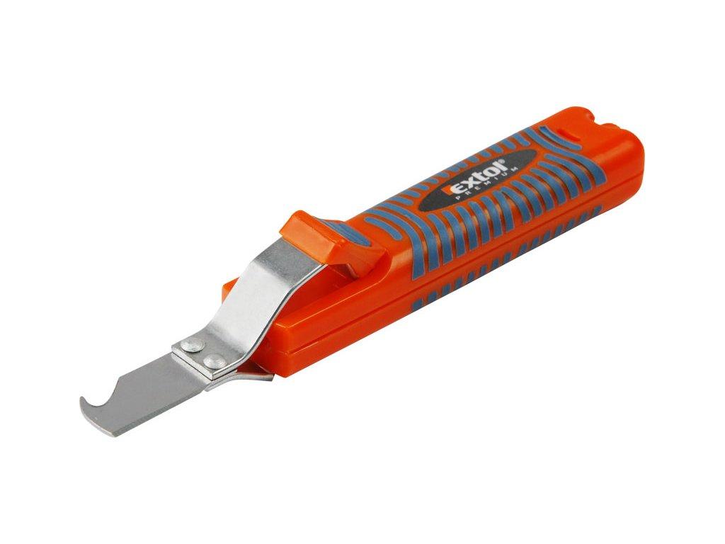 nůž na odizolování kabelů, 8-28mm, délka nože 170mm, na kabely o průměru 8-28mm, bezpečné řezy izolace kabelů v podélném i obvodovém směru bez poškození izolace jednotlivých vodičů uvnitř kabelu, EXTOL PREMIUM