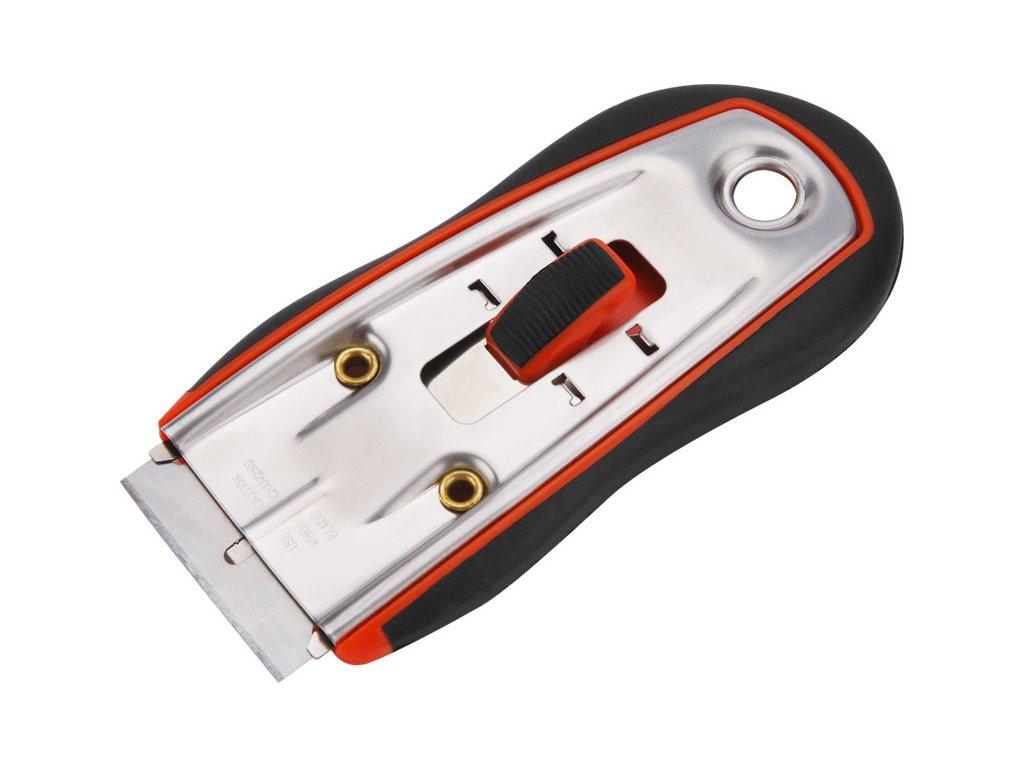 škrabka univerzální, vyměnitelný břit 38x19mm (Extol břity 9141), rukojeť z ABS plastu měkčená protiskluzovou TPR gumou, NEREZ, EXTOL PREMIUM