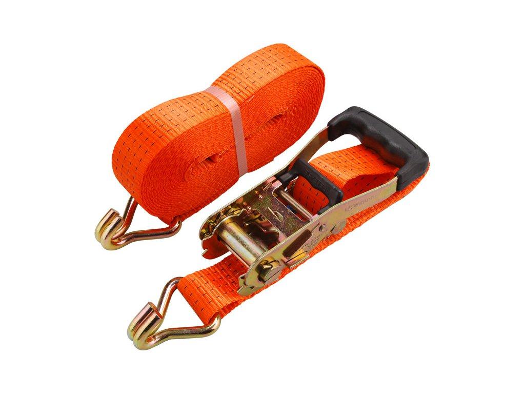 pás upínací ráčnový s háky, 10m x 50mm, max. 4000kg, pevnost pásu: při opásání 4000 daN, v tahu 2000 daN, PES, EXTOL PREMIUM