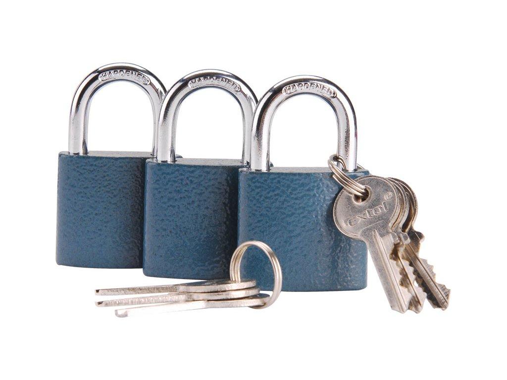 zámky visací sjednocené na jeden klíč, sada 3 kusů, 38mm, 6 klíčů, jedním klíčem lze otevřít kterýkoli zámek v sadě, EXTOL CRAFT