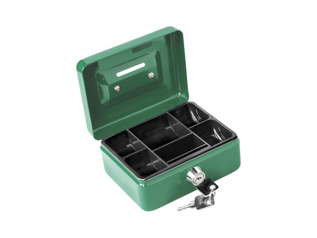 schránka na peníze přenosná s otvorem pro mince, 125×95×55mm, 2 klíče, plastový pořadač na mince, EXTOL CRAFT