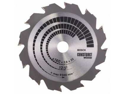 Pilový kotouč - Bosch Construct Wood 160 x 20/16 x 2,6 mm/12z.