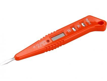 zkoušečka napětí digitální s LED světlem 12-250V, 12-250V, délka 146mm, plochý šroubovák (-)3,0mm, LCD displej, na měření napětí v rozsahu 12-36-55-110-220V AC/DC (střídavý/stejnosměrný proud), frekvenční rozsah 50-50